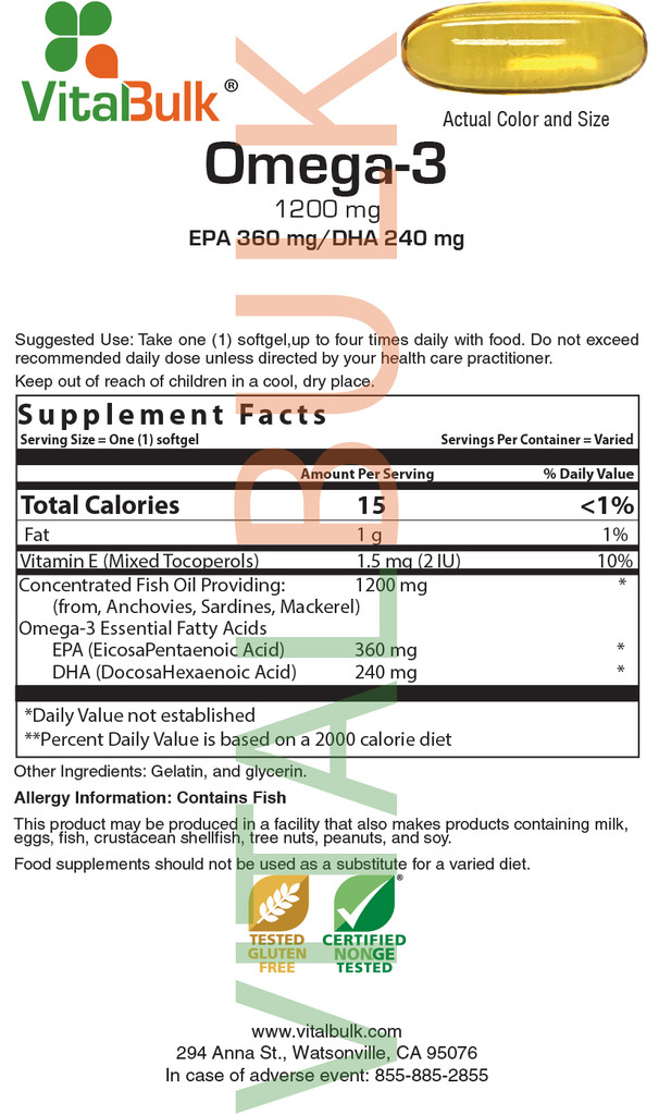 Omega-3 1,200 mg Softgel - Double Industry Standard Potency