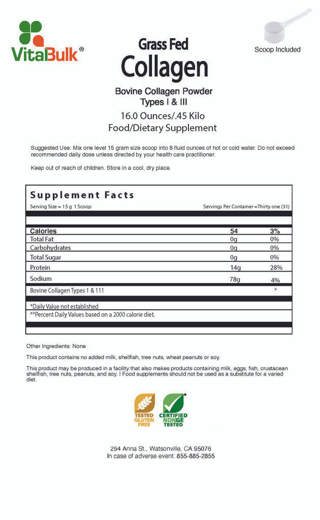 Grass Fed Bovine Collagen Types I & III