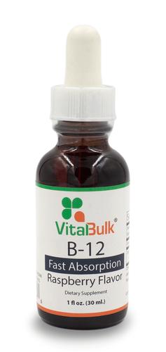 B-12 Liquid Drops 1,000 mcg Raspberry Flavor - 1 Oz. Bottle