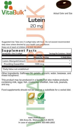 Lutein 20 mg Softgel - 30 Count Bag