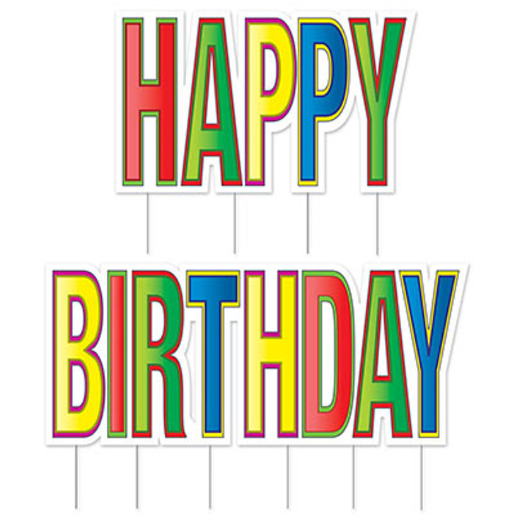 "Jumbo ""Happy Birthday"" Plastic Yard Sign - Multi-color - 2 pc"