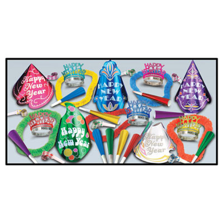 New Year - Cabaret Assortment for 50 Includes hats, tiaras, horns, blowouts and leis