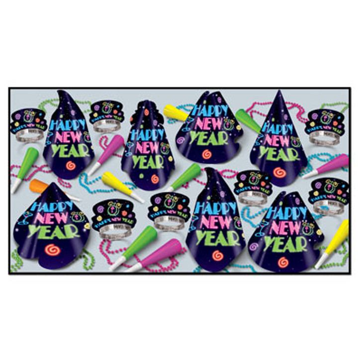 New Year - Neon Midnight Assortment for 50 Includes hats, tiaras, horns, and beads