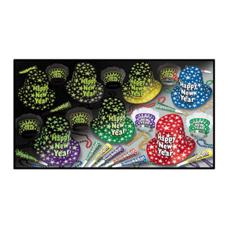 New Year - Midnight Glow Assortment for 50 Includes glow in the dark hats, tiaras, and horns and beads