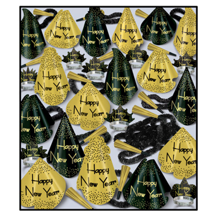 """New Year - Golden Grand Assortment for 100 50 - Full-Sized Printed Foil Party Hats, 50 - Glittered Foil Tiaras, 100 - 9"""" Foil Horns, 50-Soft-Twisted Poly Leis"""