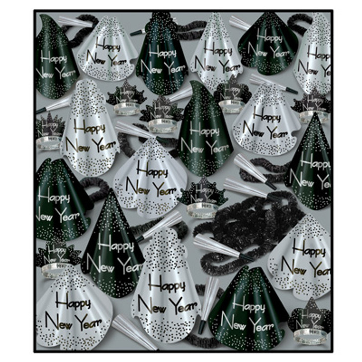 """New Year Silver Grand Assortment for 100 50 - Full-Sized Printed Foil Party Hats, 50 - Glittered Foil Tiaras, 100 - 9"""" Foil Horns, 50-Soft-Twisted Poly Leis"""