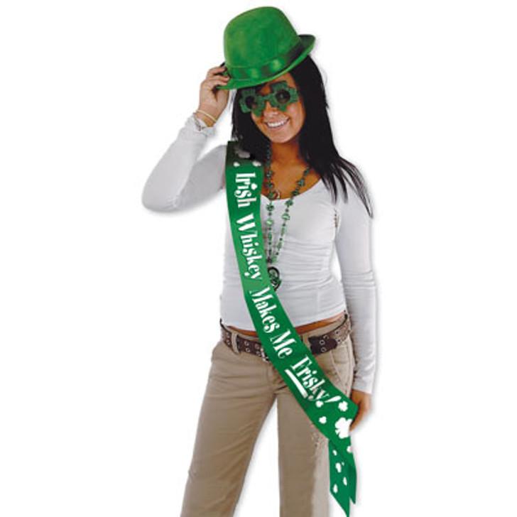 """""""Irish Whiskey Makes Me Frisky"""" Sash"""