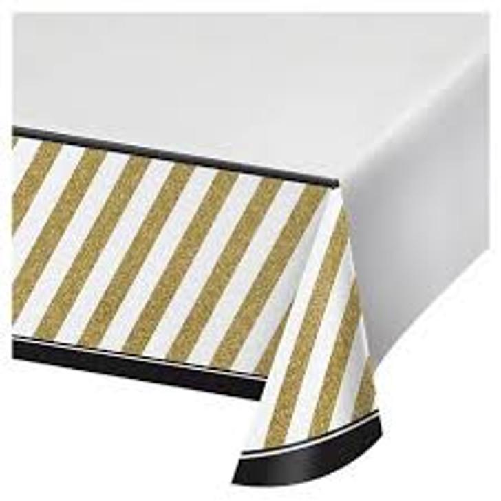 Black & Gold Plastic Table Cover - 54 in x 102 in