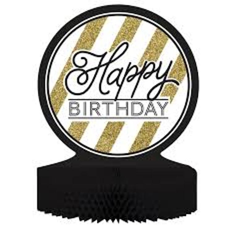 """Black & Gold """"Happy Birthday"""" Centerpiece - 9 in x 12 in"""