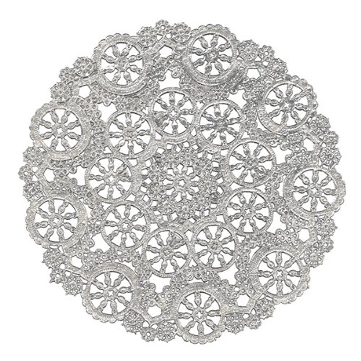 Royal Lace Medallion Lace Silver Foil Paper Doilies 8""