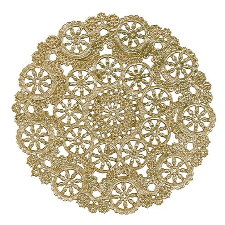 Royal Lace Gold Foil Paper Medallion Lace Paper Doilies 6""