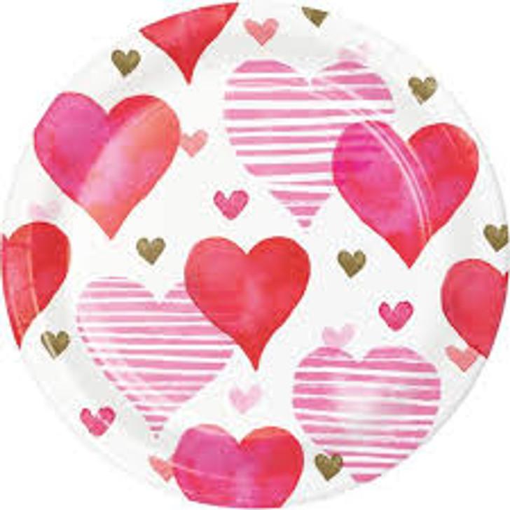Valentines - Textured Hearts 7 inch Plates
