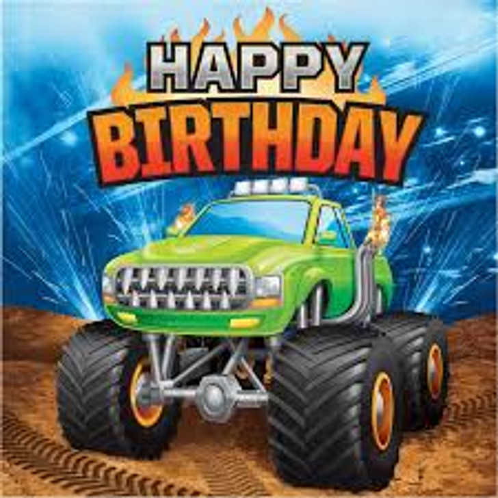 Monster Truck Rally Happy Birthday Lunch Napkins