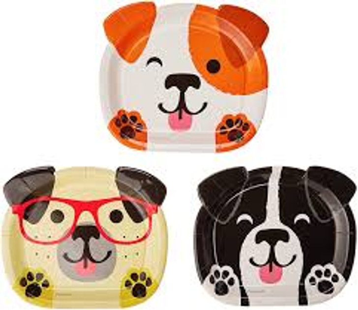 Dog Party 9 inch Shaped Plates - 8 ct