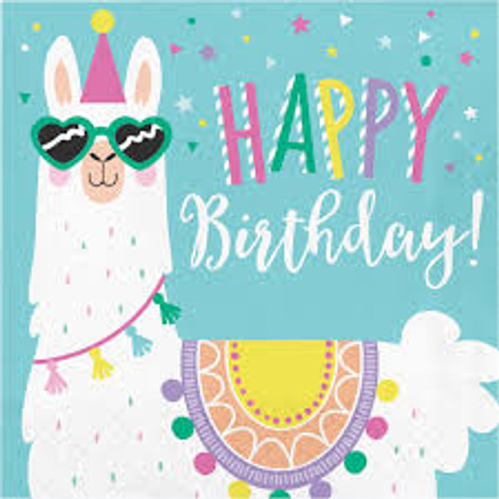 Llama Party Happy Birthday Lunch Napkins