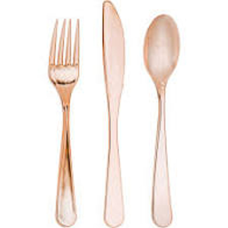 Sensations Rose Gold Assorted Cutlery - 24 ct. 8 forks, knives, and spoons