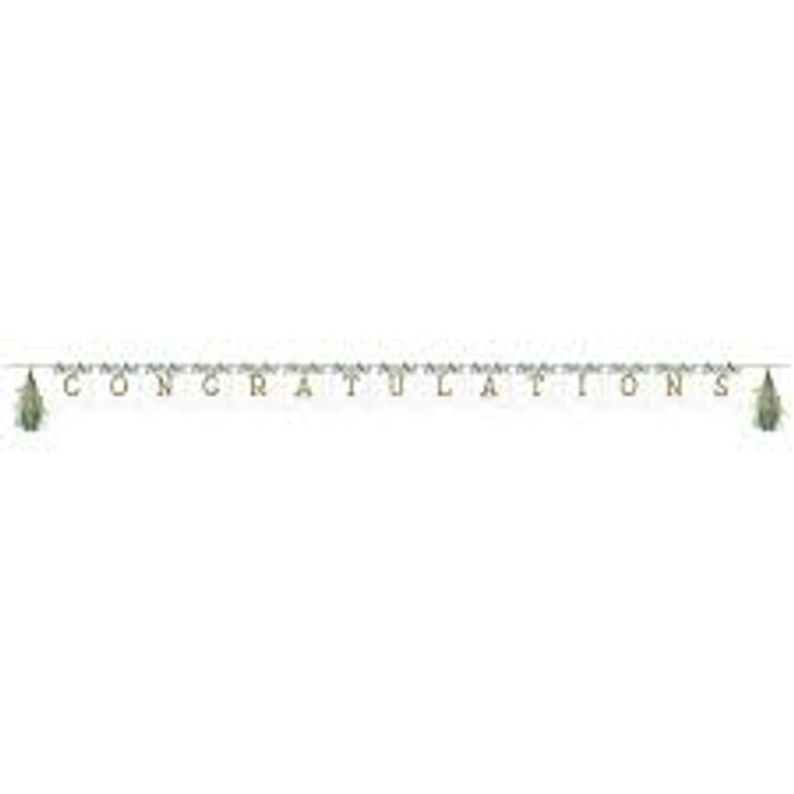 Eucalyptus Greens Shaped Ribbon Banner with tassels, Wedding / Bridal shower