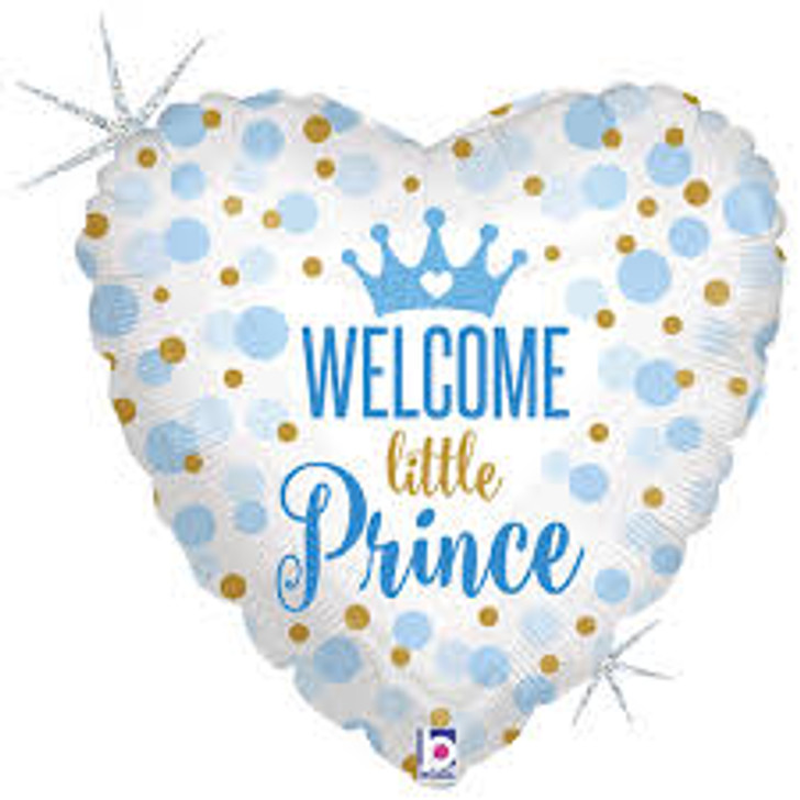 Welcome Little Prince Baby Shower Foil Balloon - 18 in