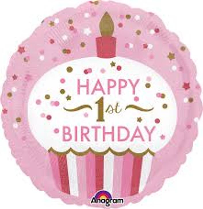Happy 1st Birthday Girl Foil Balloon - 18 in