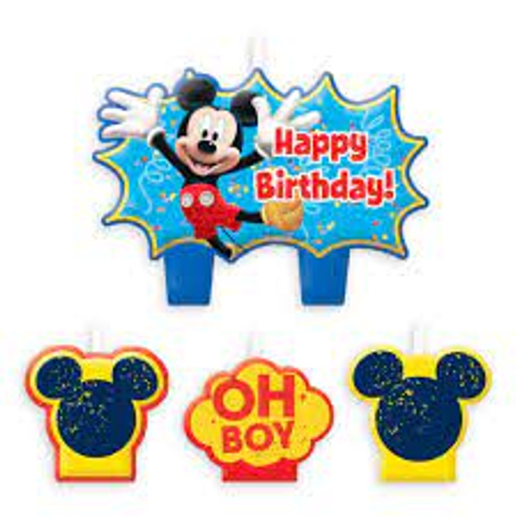 Mickey Mouse Birthday Candle Set - 4 pieces