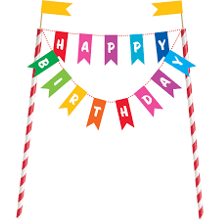 Rainbow Birthday Cake Banner - 8 in tall and across