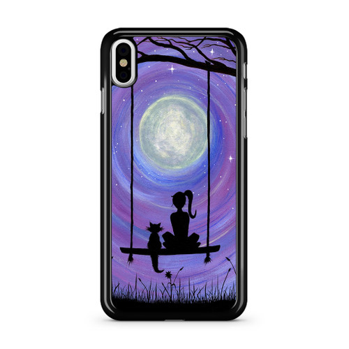 ba0a2217eb11 Woman Cat and Moon iPhone XS Max Case