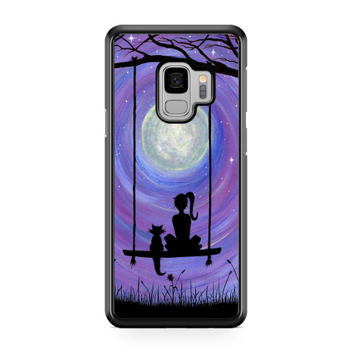 Woman Cat and Moon Samsung Galaxy S9 Case