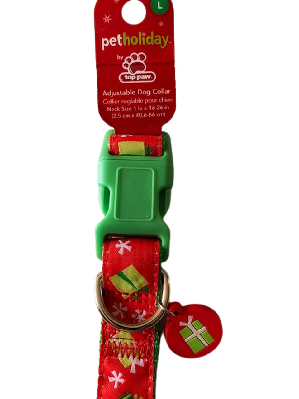 Large Christmas Dog Collar In Elf Green With Christmas Stockings