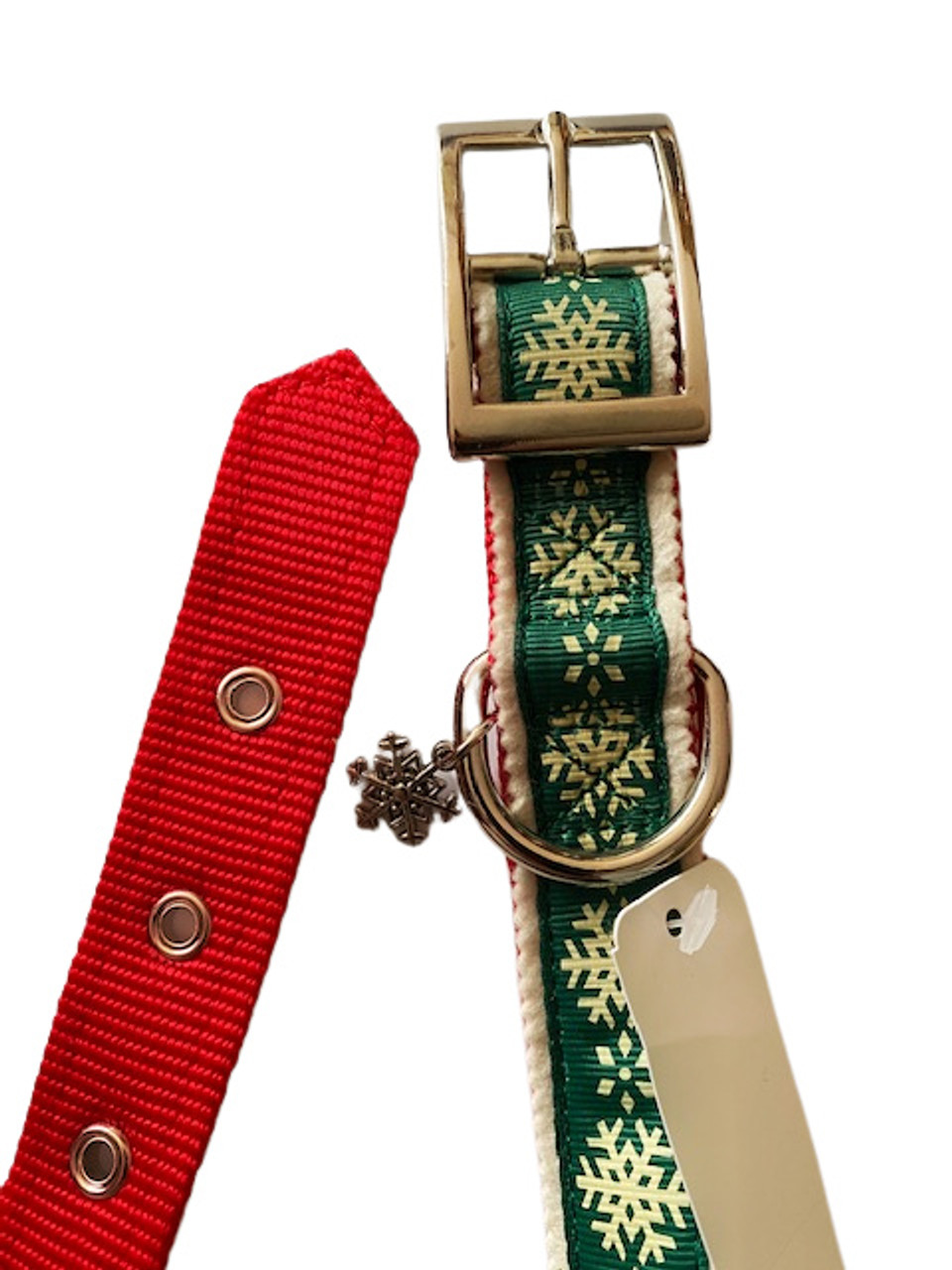 Deck The Paws Christmas Pattern Large Dog Collar With Snow Charm