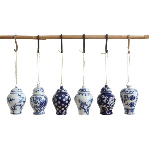 Blue & White Stoneware Ornament