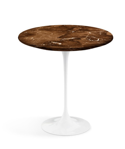 "20"" coated espresso marble top side table with white base"