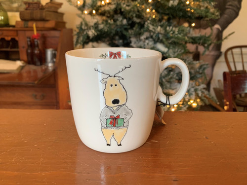 Reindeer Mug with Holiday Saying