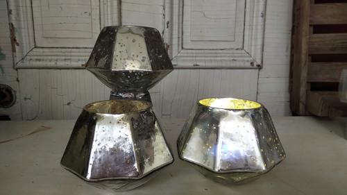 Mercury Glass Hexa Votive Holder