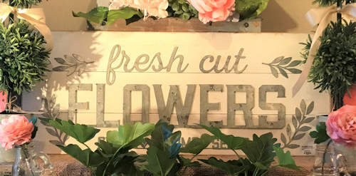 Whitewashed Galvanized Flowers Sign
