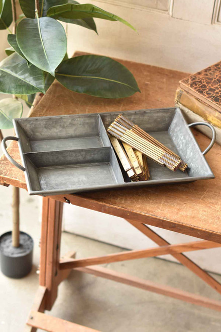 Rectangle Divided Galvanized Tray