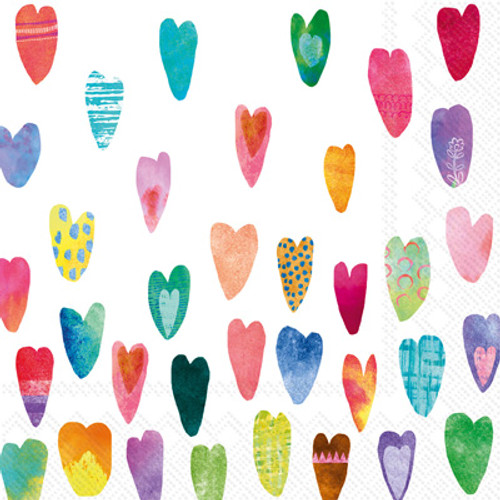 Rainbow Hearts Cocktail Napkin