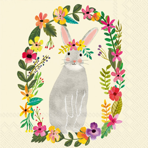 Floral Bunny Cocktail Napkin