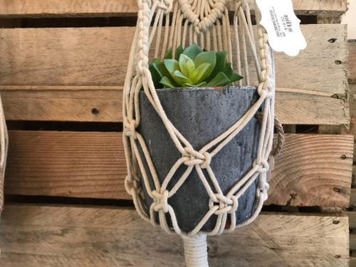 Large Cement Planter with Jute Handles