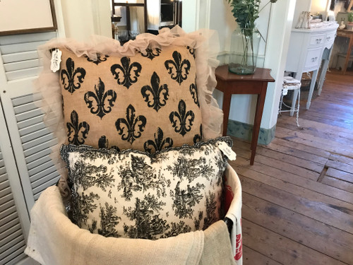 Cream Down Pillow with Toile Ruffle
