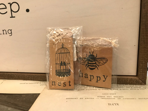 Set 6 Tags on Antiqued Paper