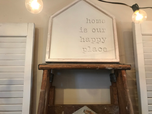 Cream Happy Place House Sign