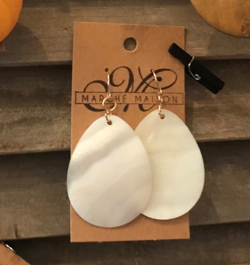 White Capiz Drop Earrings