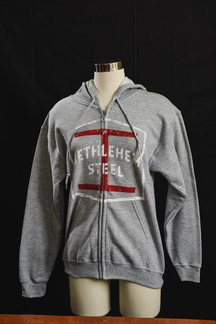 Bethlehem Steel Grey Zippered Hoodie