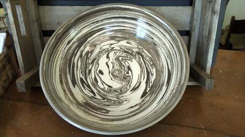 Large Brown and Cream Ceramic Bowl