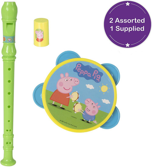 HTI & Games Peppa Pig Kids Musical Set with Tambouriner and Recorder for Children Boys & Girls Aged 3+