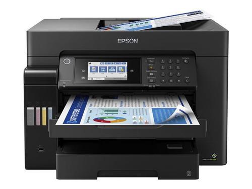 Epson EcoTank Pro ET-16650 Wide-format All-in-One Supertank Printer - Multifunction printer - colour - ink-jet - A3/Ledger (media) - up to 25 ppm (printing) - 550 sheets - 33.6 Kbps - USB, LAN, USB host, Wi-Fi - black