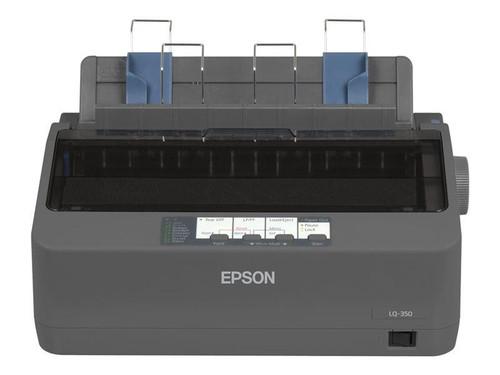 Epson LQ-350 Dot Matrix Printer , 24 pins, 80 column, original + 3 copies, 300 cps HSD (10 cpi), Epson ESC/P2 - IBM 2390+ emulation, 14 fonts, 8 Barcode fonts, 3 paper paths, single and continous sheet, paper park, USB Parallel and Serial I/F