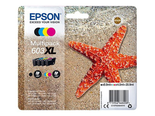 Epson 603XL Multipack - 4-pack - XL - black, yellow, cyan, magenta - original - blister - ink cartridge - for Expression Home XP-2100, 2105, 3100, 3105, 4100, 4105, WorkForce WF-2810, 2830, 2835, 2850