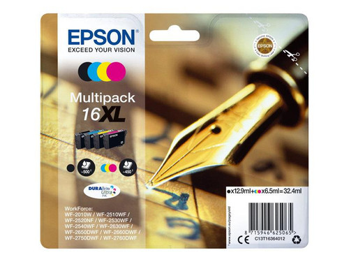 Epson 16XL Multipack - 4-pack - XL - black, yellow, cyan, magenta - original - blister - ink cartridge - for WorkForce WF-2010, 2510, 2520, 2530, 2540, 2630, 2650, 2660, 2750, 2760