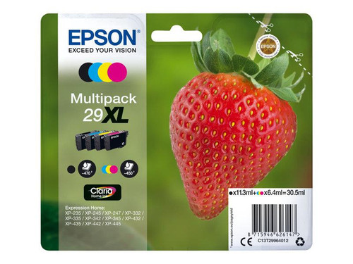 Epson 29XL Multipack - 4-pack - XL - black, yellow, cyan, magenta - original - blister - ink cartridge - for Expression Home XP-245, 247, 255, 257, 332, 342, 345, 352, 355, 435, 442, 445, 452, 455